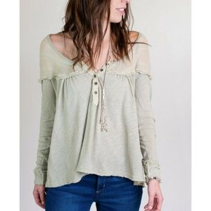 Free People Down Under Henley Army XS NWT